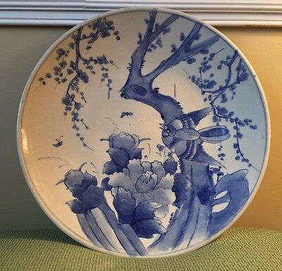 """18"""" Giant Antique Chinese Ming Blue & White Porcelain Charger Bird"""