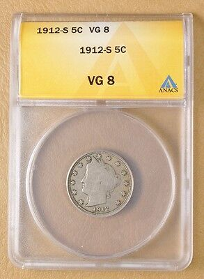 1912 S Liberty Head V Nickel ANACS VG8
