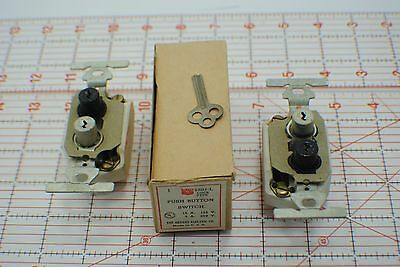 2 VINTAGE BRYANT LOCKING Single Pole Push Button Light Switch -5501-L 15A - NEW