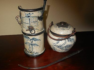 Two Antique Asian Chinese Blue & White Ceramic Opium Water Pipes
