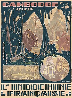Cambodia Angkor L'Indochine Vintage Asian Travel Advertisement Art Poster Print
