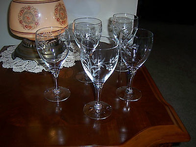 Vintage Crystal Wine Glasses Hand-Blown and Hand-Etched Wheat and Leaf Pattern