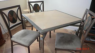 Metal table and four chairs