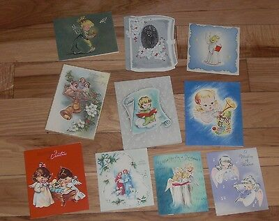 Vintage Christmas Cards Lot of 9 All Angels!