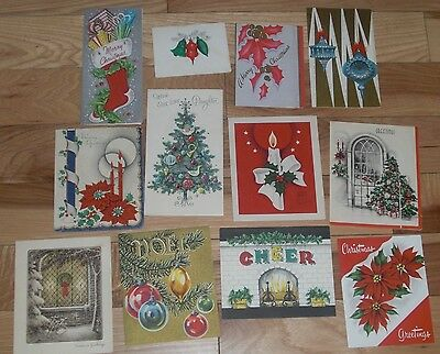 Vintage Christmas Card Lot of 12 Mostly Mid-Century 2 Unsigned
