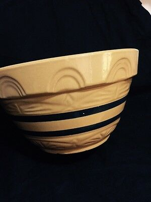 "R.r.p Co Roseville Ohio Usa 10"" Mixing Bowl 305-10 Mustard Yellow Blue Striped"