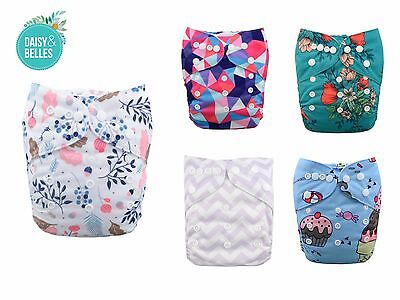 cloth nappies Alva baby x 5 with microfibre inserts included