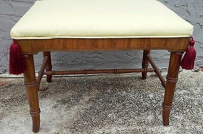 Antique Carved Faux Bamboo Bench Footstool Hollywood Regency 1930 w tassels