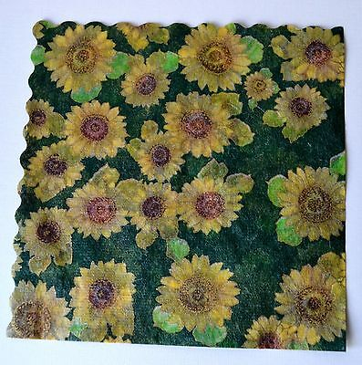 SUNFLOWERS -  20 Vintage Rice Paper Napkins - arts and crafts decoupage, Japan