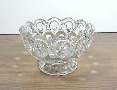 """L E Smith Moon & Stars 6 1/4"""" x 4"""" Clear Footed Bowl Candy Flowers Fruit"""
