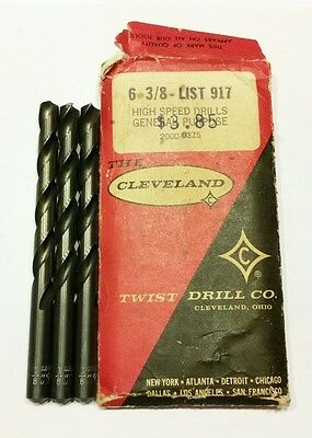 "3/8"" Cleveland Jobber Drill Bits (3) New old stock in original envelope.  USA"