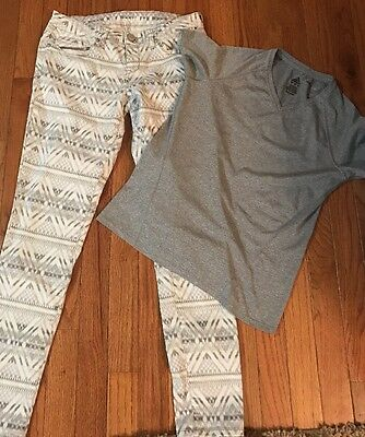 Women's Clothing Size 4/small. Adidas Shirt And Skinny Printed Jegging