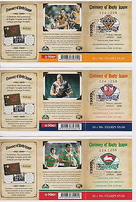 Australia Stamps Booklet 2008 Centenary Rugby League PHILAS Overprint 124/250 x3
