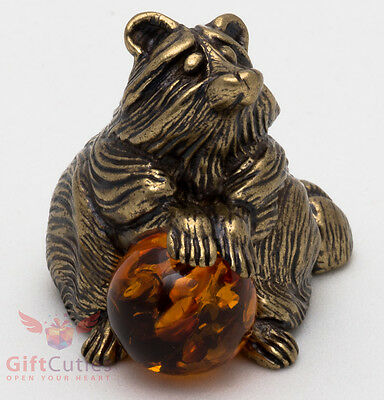 Solid Brass Amber Figurine of Raccoon with an Amber ball IronWork