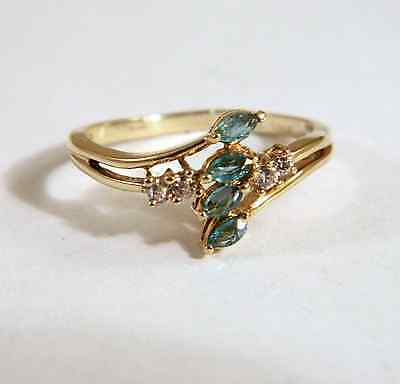 18K Yellow Gold Genuine Emeralds and Diamonds Cocktail Ring Size 6 1/2