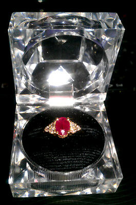 Yellow Gold 14K Ruby And Diamond Ring ~ Size 6 ¾
