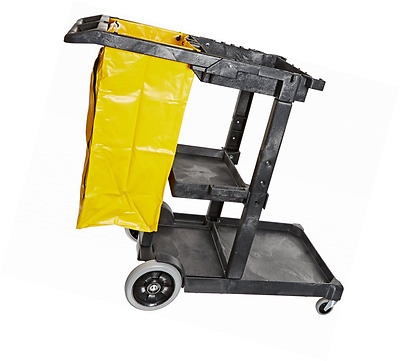 "Impact 6850 Janitor's Cart with 25-Gallon Yellow Vinyl Bag, Polyethylene, 48"" Le"