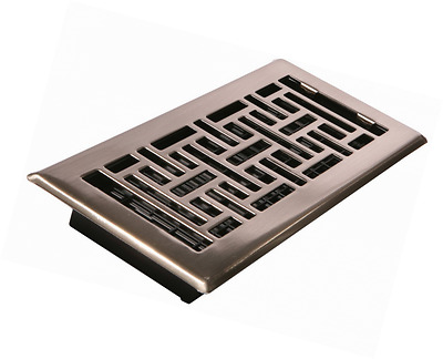 Decor Grates AJH410-NKL 4-Inch by 10-Inch Oriental Floor Register, Brushed Nicke