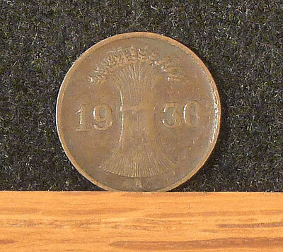 1930 A   Germany  1  Pfennig Coin     F132