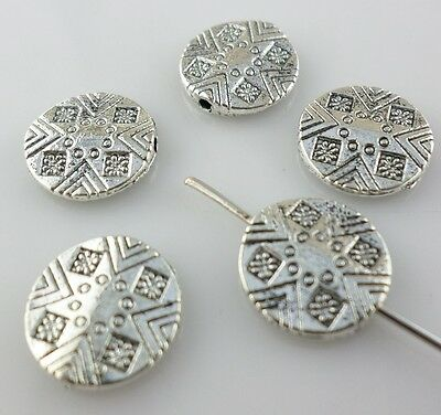 14pcs Tibetan Silver Oblate Carving Spacer Beads DIY Jewelry Beading Making 11mm