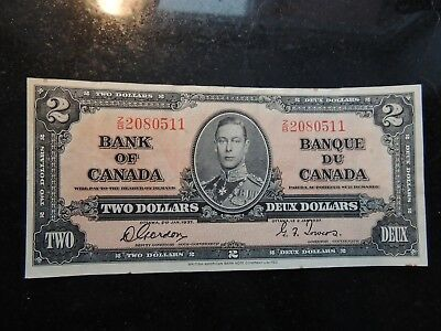 1937 BANK OF CANADA $2 TWO DOLLARS CHANGEOVER GORDON TOWERS Z/B 2080511 BC-22b
