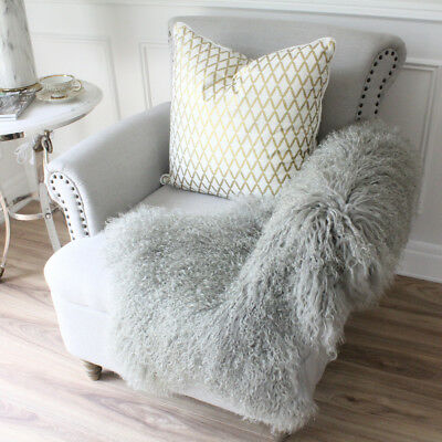 Light Grey Real Mongolian Fur Tibetan Sheepskin Lambskin Hide Pelt Fur Throw