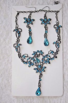 jewelry set crystal necklace match earrings silver tone aqua set