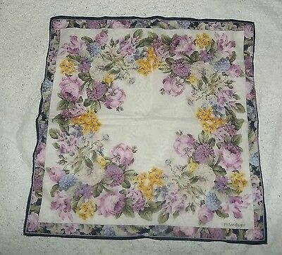 Exquisite Yves Saint Laurent Pink, Purple,yellow Handkerchief Scarf