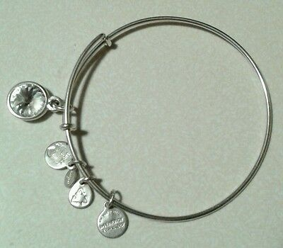 Alex and Ani with white stone Charm sliver Bangle Bracelet pre owner.