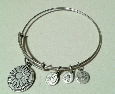 Alex and Ani with daughter Charm sliver Bangle Bracelet pre owner.