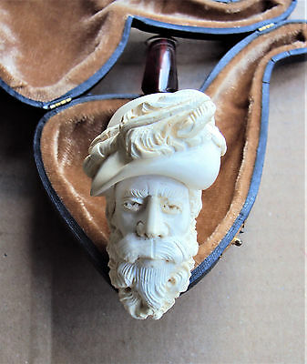 Vintage Meerschaum Hand Carved Pipe With Fitted Case - Excellent
