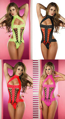 Front Double Lace-Up Collar Lingerie Exotic Dancer Stripper Outfit