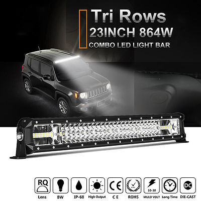 "7D+ 23""inch 864W CREE LED Light Bar Work LAMP Spot Flood Combo SUV OFFROAD TRUCK"