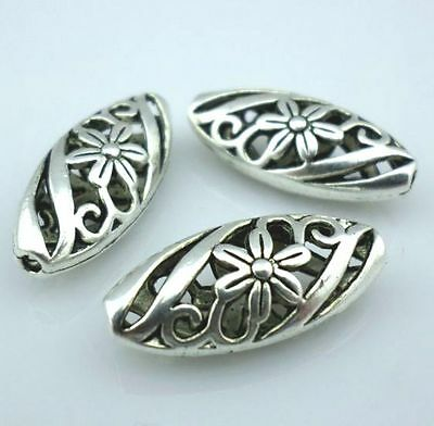 4pcs Tibetan Silver Hollow Flower Pattern Spacer Beads10x22mm For Jewelry Making