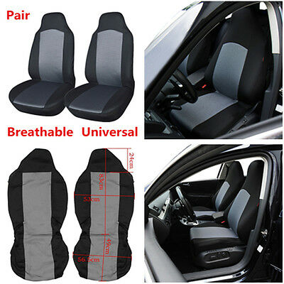 Pair Universal Car Front Seat Covers Protectors Grey & Black Double Mesh + Spong
