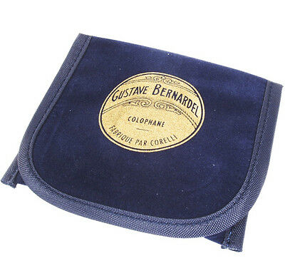NEW Gustave Bernardel violin rosin in suede cloth wrapper and blue cloth pouch