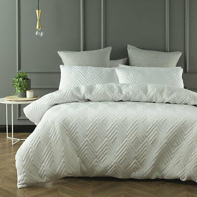 Cushla White Quilted Duvet Doona Quilt Cover Set Queen King Bed Size by Phase 2
