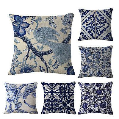 Blue And White Printing Pillow Case Linen Cushion Cover Car Home Decor Sofa