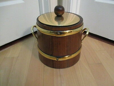Vintage Mid Century Solid Wood Ice Bucket Champagne Chiller
