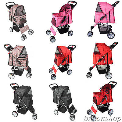Dog Puppy Cat Pet Travel Stroller Pushchair Pram Jogger Buggy Swivel 3/4 Wheels