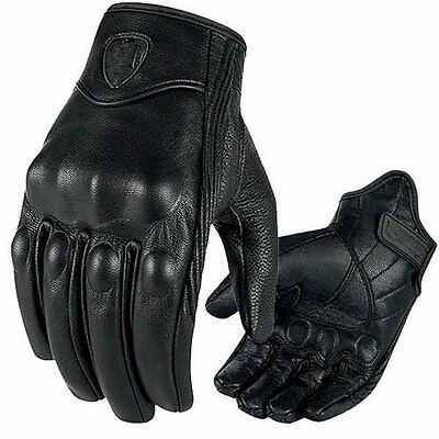 Short Premium Leather Protective Motorcycle Motorbike Gloves Tactical Knuckle