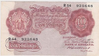 B223 Basil Gage Catterns 10 Shillings Banknote In Near Extremely Fine Condition