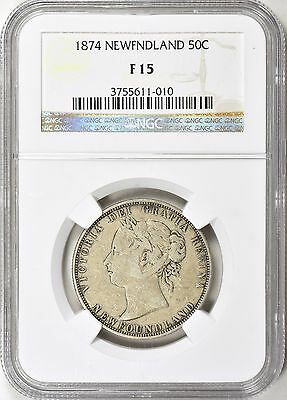 Newfoundland 1874 Silver 50 Cents NGC F-15
