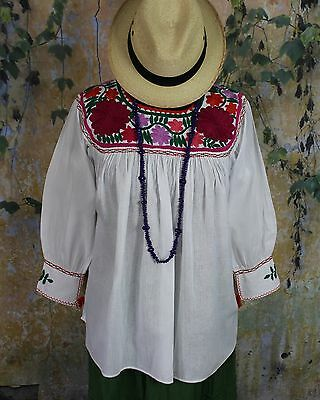 White & Multi-Color Hand Embroidered Blouse Mayan Chiapas Mexico Cowgirl Hippie