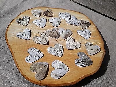 10//50/100 Rustic Wedding Silver Birch Bark Hearts Favours Table Confetti craft