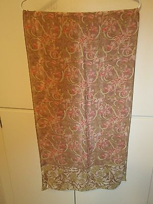 Italy SILK Metro Museum of Art Vtg Long SCARF Opera Vines Floral Beige Coral