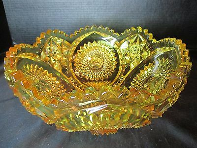 American Brilliant? Amber Yellow Bowl Shell Design in Hobstar Sawtooth Rim 4 LBS