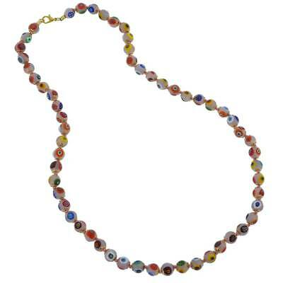 GlassOfVenice Murano Glass Mosaic Long Necklace - Pink
