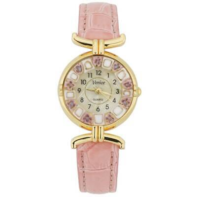GlassOfVenice Murano Glass Millefiori Watch with Leather Band - Pink