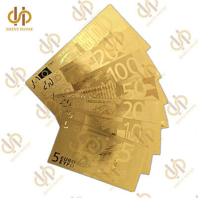 7PCS Gold Plated Euro Banknotes 5,10, 20, 50, 100, 200, 500 Banknote Collection